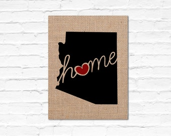 "Arizona (AZ) ""Love"" or ""Home"" Burlap or Canvas Paper State Silhouette Wall Art Print / Home Decor(Free Shipping)"