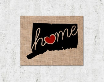"Connecticut (CT) ""Love"" or ""Home"" Burlap or Canvas Paper State Silhouette Wall Art Print / Home Decor"