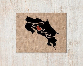 Costa Rica Love - Burlap or Canvas Paper State Silhouette Wall Art Print / Home Decor (Free Shipping)
