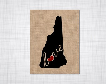 "Maine (ME) ""Love"" or ""Home"" Burlap or Canvas Paper State Silhouette Wall Art Print / Home Decor (Free Shipping)"