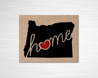 "Oregon (OR) ""Love"" or ""Home"" Burlap or Canvas Paper State Silhouette Wall Art Print / Home Decor (Free Shipping)"