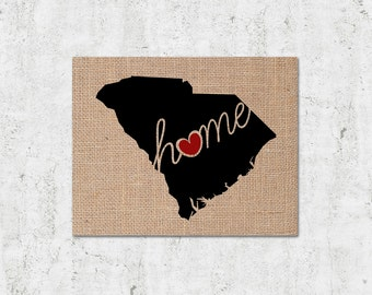 "South Carolina (SC) ""Love"" or ""Home"" Burlap or Canvas Paper State Silhouette Wall Art Print / Home Decor (Free Shipping)"