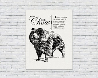 Chow - Vintage Inspired Wall Art Home Decor Print on Canvas Paper With Retro Illustration & Dog Breed Definition - Farmhouse Style Artwork