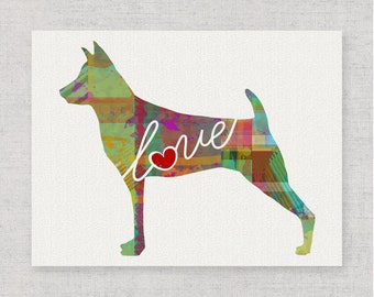 Miniature Pinscher Love - A Colorful Bright & Whimsical Watercolor Print Home Decor Gift - Can Be Personalized with Name (+ More Breeds)