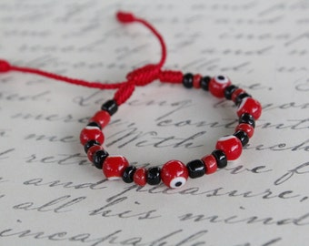 Red Evil Eye Bracelet, Protection Bracelet, Good Luck Bracelet, Red Bracelet