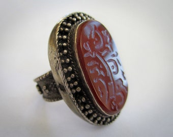 Older Hand Carved Carnelian Ring from Afghanistan Large Oval Sterling Silver Size 9.5 - Vintage Tribal Jewelry Ethnic Central Asia Antique
