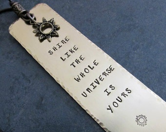 Stamped Metal Brass Bookmark Shine Like The Universe