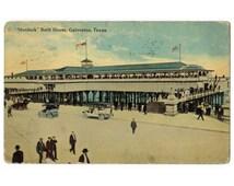 Galveston Texas antique postcard   Murdock Beach House   Gulf Coast   1910s vintage travel   Texas coastal wall decor