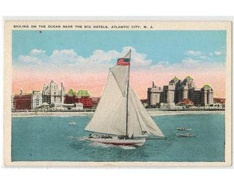 Atlantic City New Jersey vintage postcard   1930s NJ vacation travel   AC Boardwalk, New Jersey coastal art   sailboat nautical decor