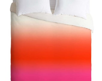 Duvet Cover Ombre Dip Dye Under the Sun Red, Pink and Cream