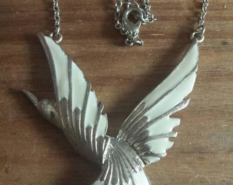 Necklace dove necklace, large bird white dove necklace.18 inches long.gift for her.