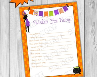 Halloween Baby shower games wishes for baby Printable INSTANT DOWNLOAD  UPrint  by greenmelonstudios halloween witch baby shower