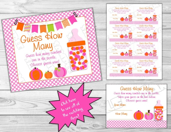 Pink Pumpkin Baby Shower Games Guess How Many Candies Game Printable INSTANT DOWNLOAD UPrint By Greenmelonstudios Fall