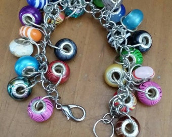 Repurposed European style beads charm bracelet
