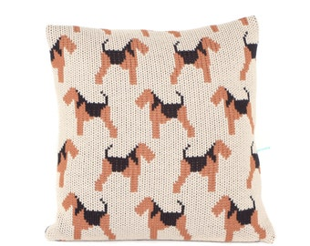 Airedale Terrier Knitted Cushion Cover