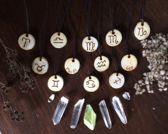 Zodiac wooden pendants