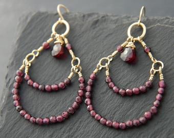 Bohemian Jewelry, Garnet Earrings, Gold Chandelier Earrings, Gold Filled, Wire Wrapped, Tiered Earrings, Garnet Gemstone Earrings, Boho