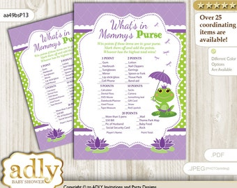 Girl Frog What is in Mommy's Purse, guess purse Game Printable Card for Baby Frog Shower DIY – Polka -aa49bsP13