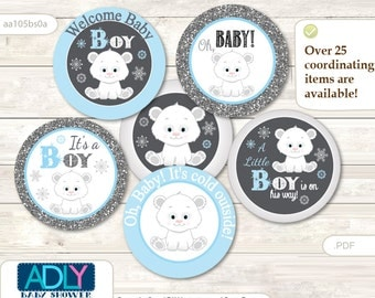 Boy Polar Bear Cupcake Toppers for Baby Shower Printable DIY, favor tags, circles, It's a Boy, Snowflake - aa105bs0