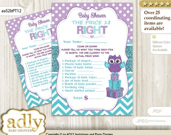Girl Owl Price is Right Game Printable Card for Baby Owl Shower DIY Teal Purple Chevron-aa52bPT12