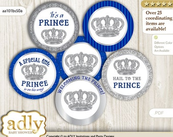 Boy Crown Cupcake Toppers for Baby Shower Printable DIY, favor tags, circles, It's a Boy, Royal - aa101bsS0