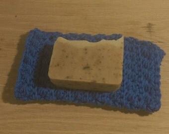 Hand Crocheted Washcloth & homemade soap sets