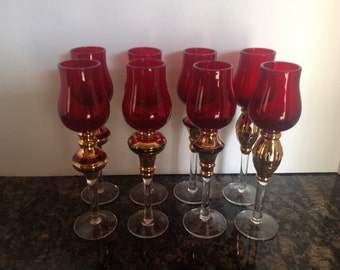 Set Of Eight Ruby Red Cordial Glasses with Gold Trim and Clear Stems