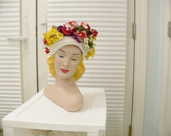 1960's Lilly Dache Turban Hat Trimmed With Flowers
