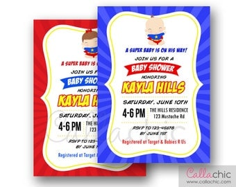 Superhero Baby Shower Invitation PRINTABLE - Boy / Girl - Primary Colors (Red Yellow Blue)