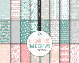 Mint coral digital paper green mint gray pink salmon wedding inspiration colors geometric hand drawn pattern background scrapbooking papers