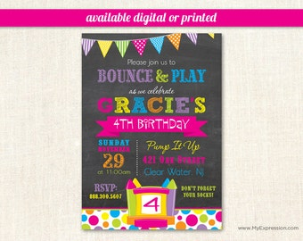 Bright Bunting Bounce House Girls Birthday Invitations - Pump It Up Girls Birthday Party - Digital or Printed