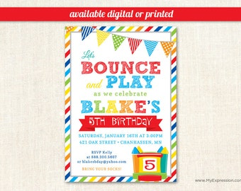 Brawny Stripes Bounce House Boys Birthday Invitations - Pump It Up Birthday Party - Digital or Printed