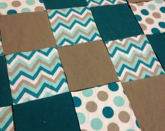 KIT or PRE-BUY Car Seat Cover/Canopy or Quilt - Teal & Grey Dots and Zags Prints - Cotton Flannel Rag Quilt
