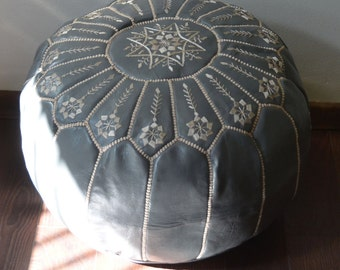 GRAY 20x13 Moroccan Pouf Ottoman Round Embroidery L