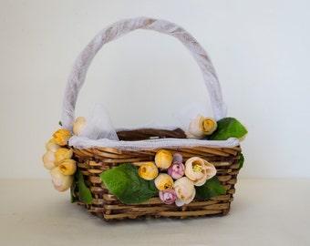 Rustic flower girl decorated basket, Italian wedding flower basket, wicker wedding flower basket, country wedding, rustic wedding accessory