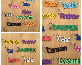 Wood Personlaised Keyring, laser cut, WOW only 2.50 per name, 14 colours to choose, personalised name a stunning gift