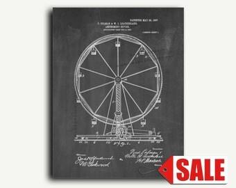Patent Print - Ferris Wheel Patent Wall Art Poster