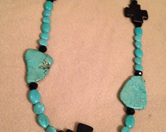Layering black and turquoise necklace