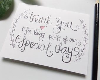 Thank You for Being Part of Our Special Day Card -  Card for Wedding Party - Card for Usher - Card for Officiant - Wedding Thank You Card