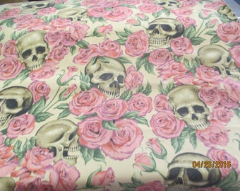 Resting in Roses on tea background by Alexander Henry cotton fabric