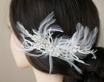 Wedding Hair Clip of Feathers and Rhinestone Waves Round Jewels Silver Bridal Hair Piece Headpiece