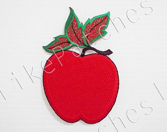 Apple Patch - Red Apple Fruit New Sew on / Iron On Patch Embroidered Applique Size 5.6cm.x8.5cm.