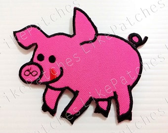 Shocking Pink Funny Pig New Sew / Iron On Patch Embroidered Applique Size 9.4cm.x7.8cm.