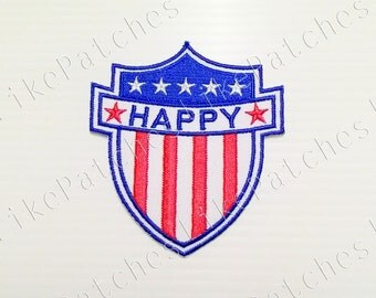 Happy American Flag New Sew / Iron On Patch Embroidered Applique Patches Size 7x7.6cm.