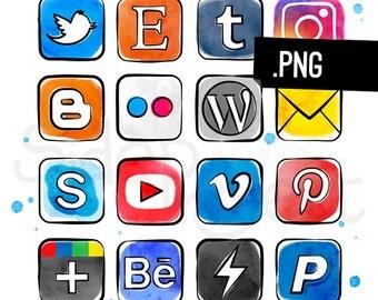 PNG - Watercolor - Social media icons