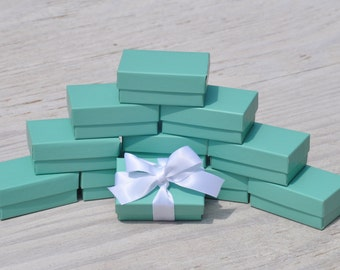 100 Turquoise 2.5x1.5x1 Jewelry Boxes Retail Presentation with Cotton Fill Small Size 21 Robins Egg Blue