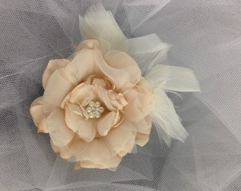 Bridal Organza and Tulle Hair Flower