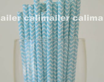 SALE - 50 Baby Blue Chevron Paper Straws for party, wedding, birthday, Halloween