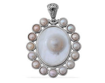 Mother of Pearl, Freshwater Pearl Silver-Tone Pendant Without Chain