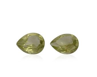 Hebei Peridot Loose Gemstones Set of 2 Pear Cut 1A Quality 4x3mm TGW 0.25 cts.